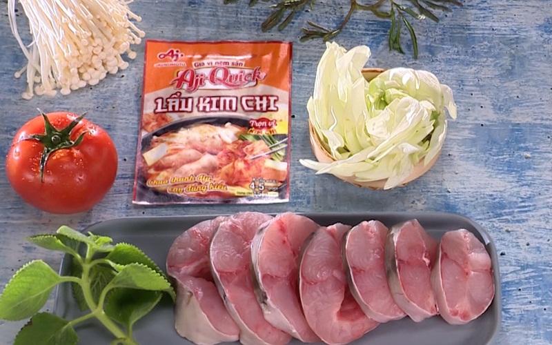 Nguyên liệu làm món lẩu cá lăng bông so đũa