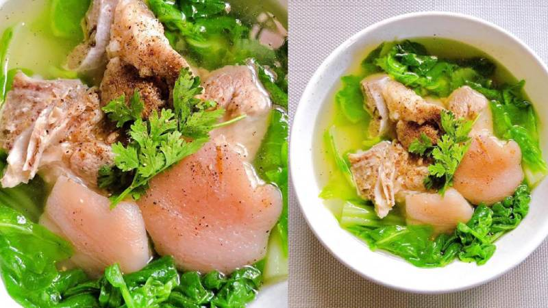 Món canh cải nhúng nấu chân giò