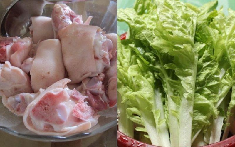 Nguyên liệu làm món canh cải nhúng nấu chân giò